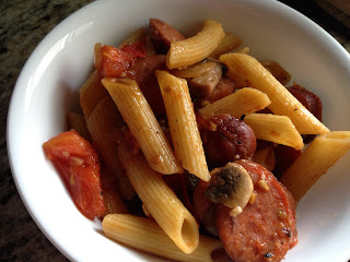 Smoked Sausage, Tomatoes & Mushrooms Penne