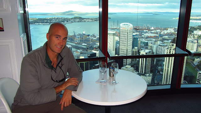 Enjoying a nice glass of New Zealand wine at the top of the Sky Tower.