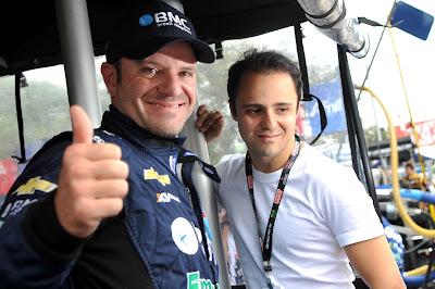 Рубенс Баррикелло и Фелипе Масса на гонке IndyCar Sao Paulo 300 в Бразилии 28 апреля 2012