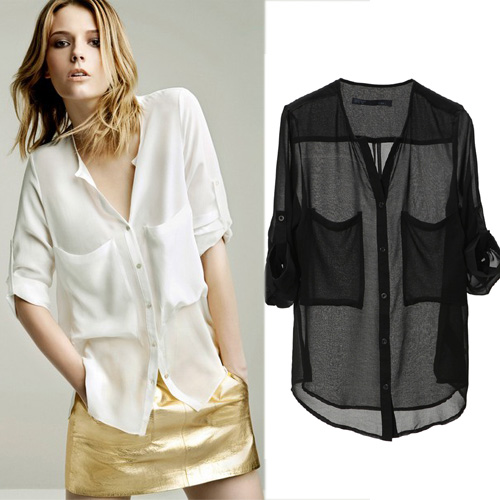 Details about Womens Chiffon See-through Pockets Shirt Tops Button