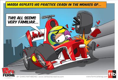Фелипе Масса разбивает Ferrari - комикс Chris Rathbone по Гран-при Испании 2013