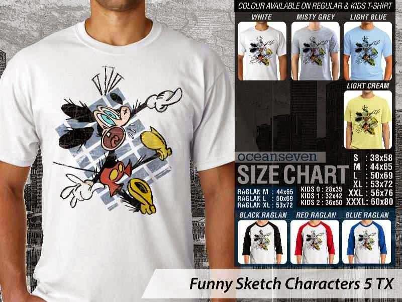 Kaos Kartun Lucu Funny Sketch Characters 5 mickey mouse distro ocean seven