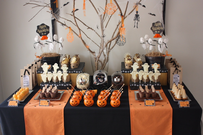 Orange and Black Halloween Dessert Table