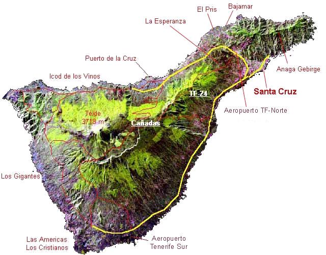 Mapa de Tenerife. Finca Susanna. Su casa rural en Tenerife.