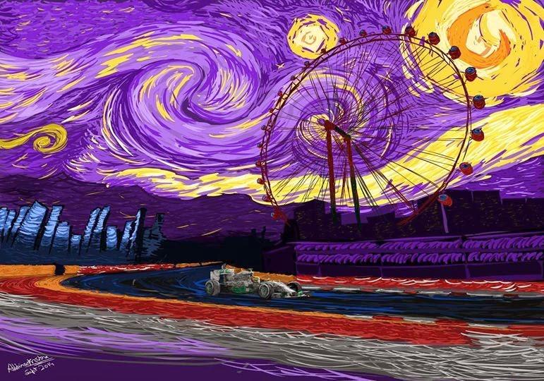 Льюис Хэмилтон на Mercedes побеждает на Гран-при Сингапура 2014 - рисунок The Circus