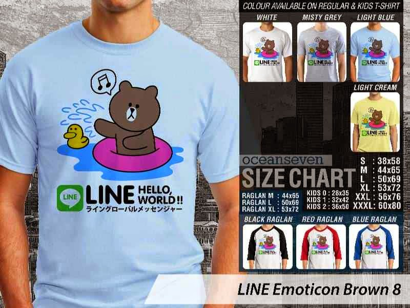 KAOS IT LINE Emoticon Brown 8 Social Media Chating distro ocean seven