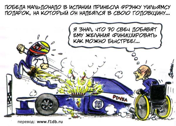 Фрэнк Уильямс добавляет огоньку Пастору Мальдонадо на Гран-при Испании 2012 - комикс Fiszman