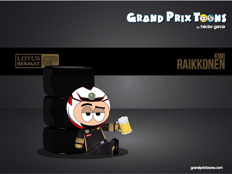 Кими Райкконен с кружкой пива на тестах за Lotus - Grand Prix Toons