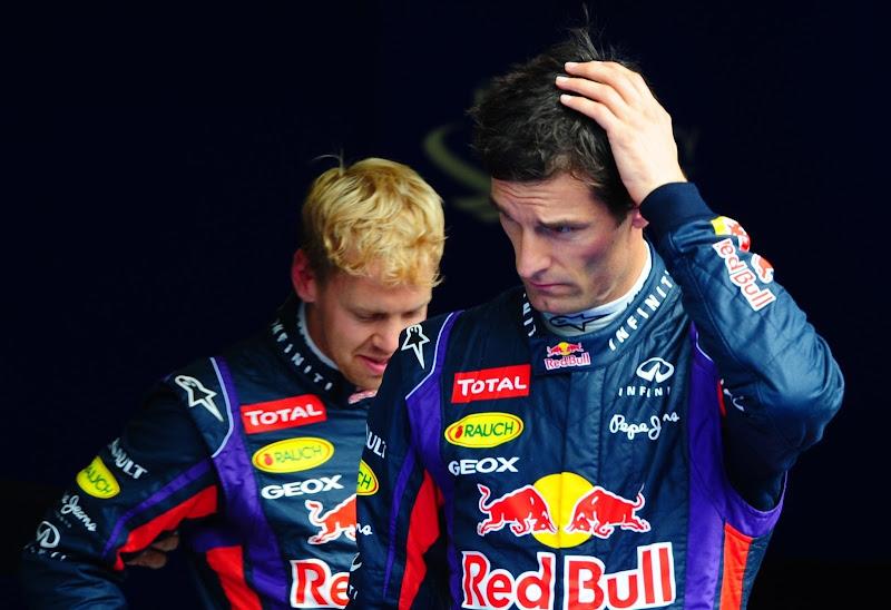 Себастьян Феттель и Марк Уэббер после квалификации на Гран-при Бельгии 2013