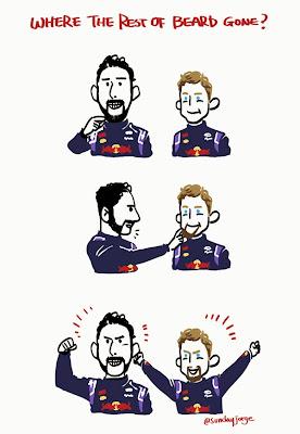 Даниэль Риккардо делится бородой с Себастьяном Феттелем - комиксы Sunday Jorge по Гран-при США 2014