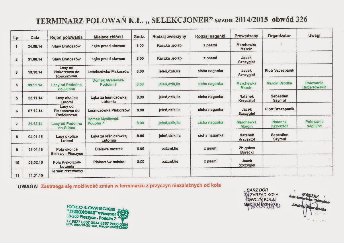 Kalendarz polowań na sezon 2014/2015