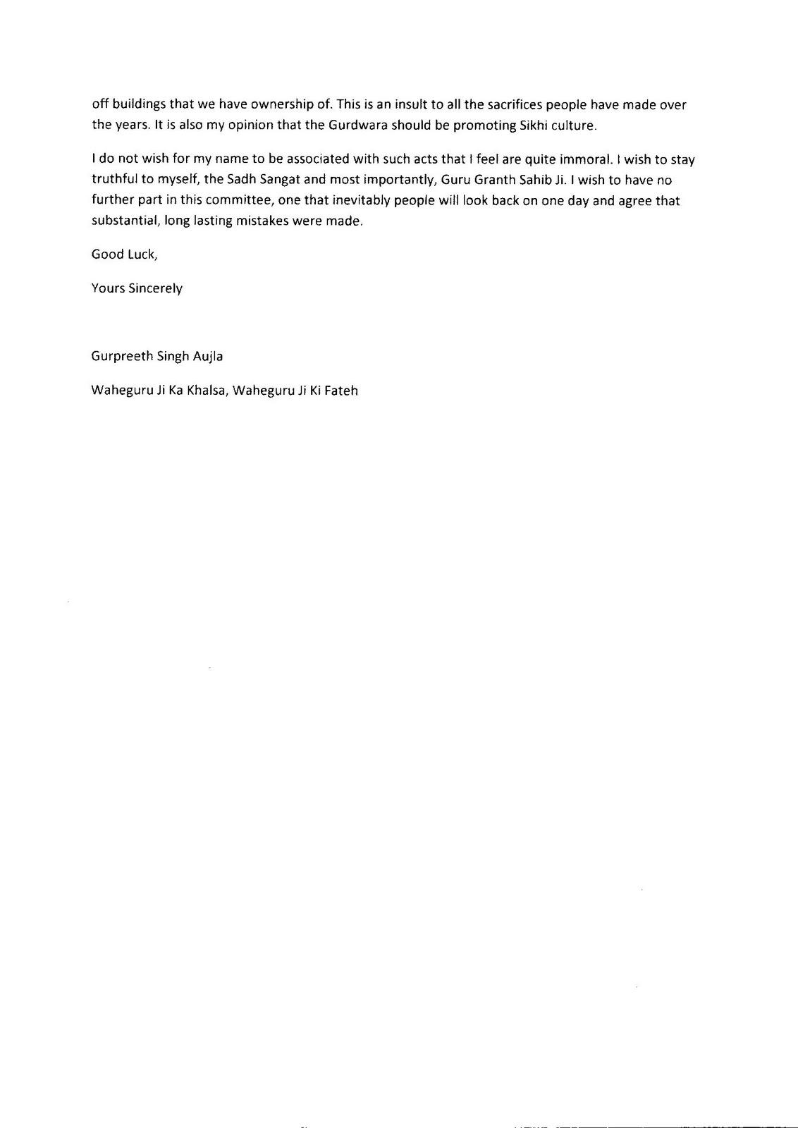 Exhibit 2 U2013 Resignation Letter (from Sikhsangat.com Discussion Thread)