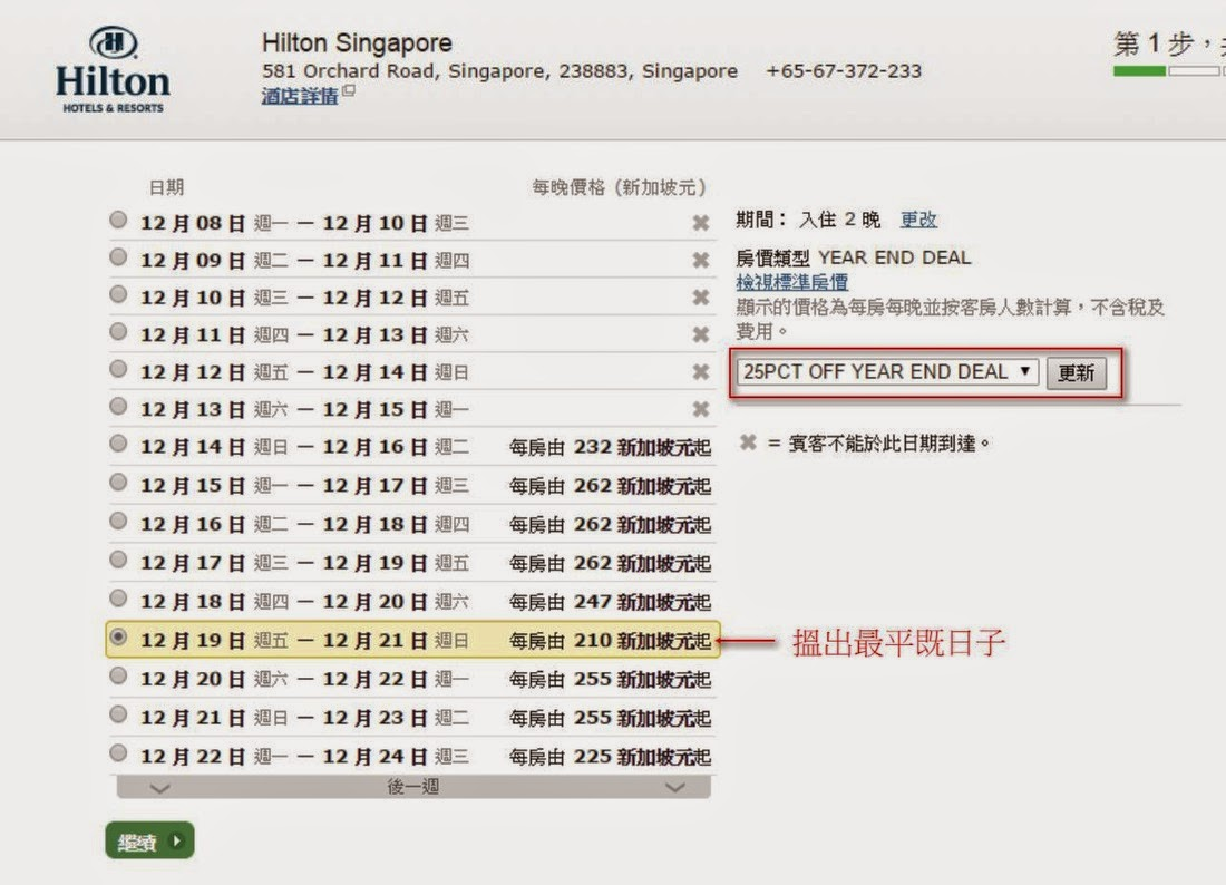 新加坡希爾頓酒店Hilton Singapore 75折