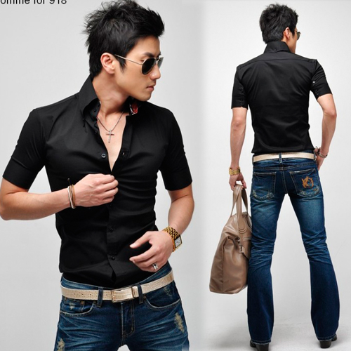 Korea Mens Button-front Short Sleeve Formal Fitted Formal Dress ...