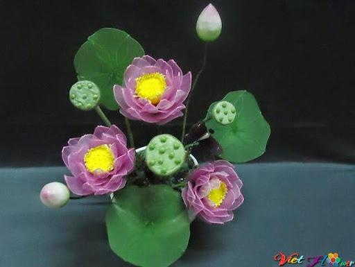 mẫu hoa sen bằng vải voan 7