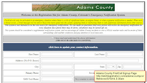 """FirstCall will only be activated in an emergency situation where there is a risk of significant harm…"" Click for larger view. (Adams County FirstCall signup website)"