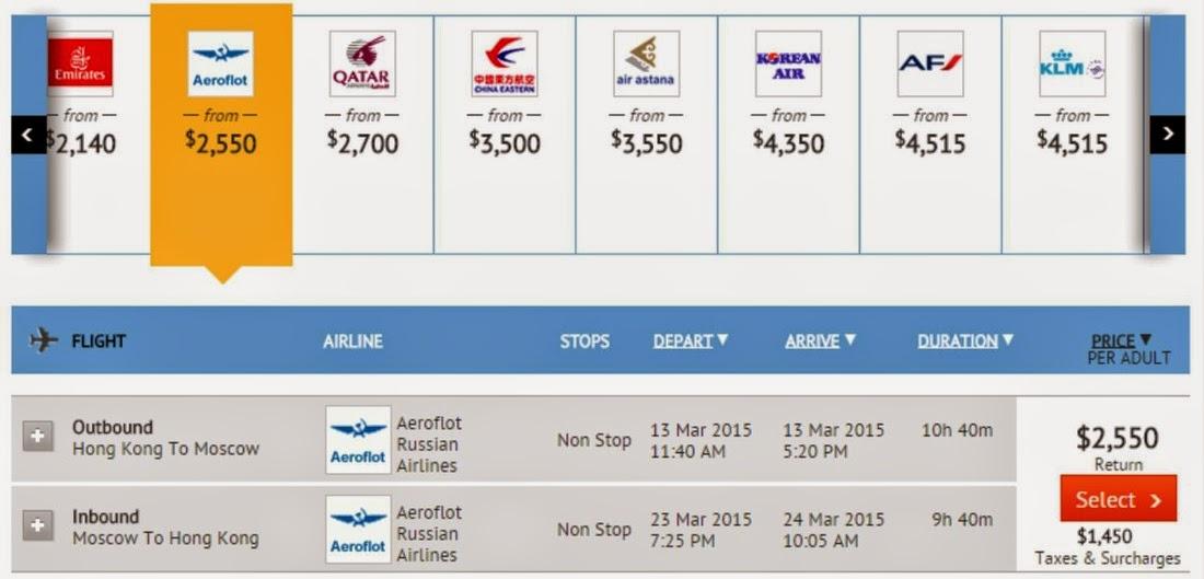 坐俄航Aeroflot 平飛俄羅斯、歐洲各地,連稅$4,000起!