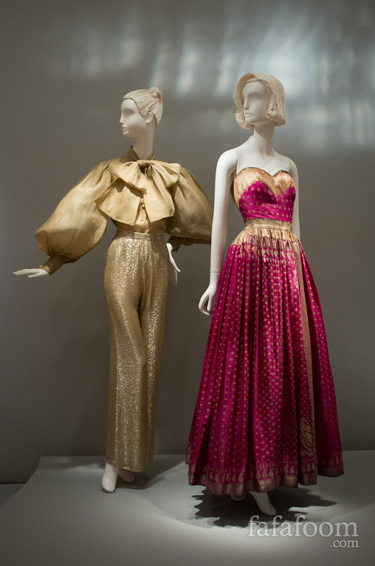 Left to right: Norman Norell, Evening ensemble, 1970-71. Mainbocher, Evening dress, 1950.