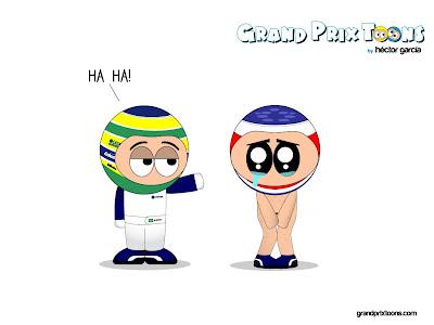 Бруно Сенна оставляет Рубенса Баррикелло без места в команде Williams - комикс Grand Prix Toons by Hector J. Garcia