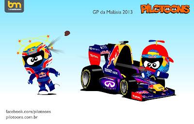 Марк Уэббер и Себастьян Феттель - pilotoons по Гран-при Малайзии 2013