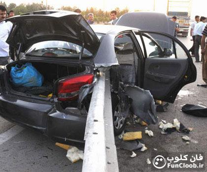 عکس تصادف خانم راننده با گارد ریل