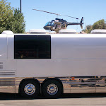 Kid Rock helicoptered in to attend the show tonight...no he didn't land on Miranda's bus, it's just a weird picture