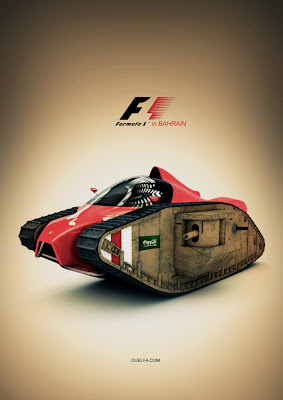 концепт болида Формулы-1 и танка к Гран-при Бахрейна 2012