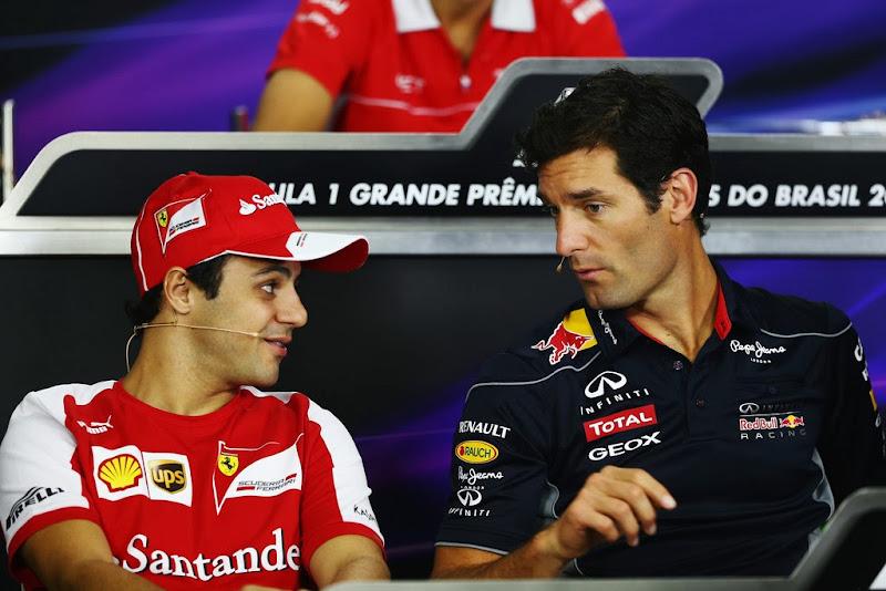 Фелипе Масса и Марк Уэббер на пресс-конференции в четверг на Гран-при Бразилии 2013
