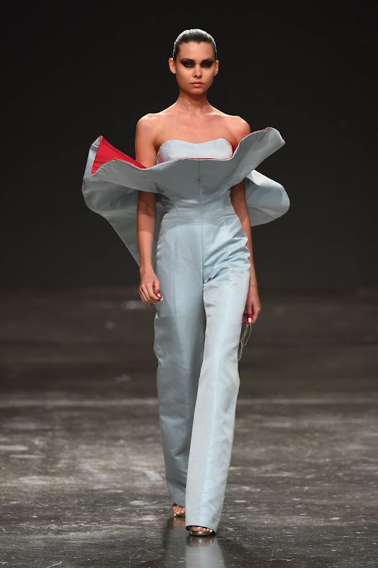 DUBAI, UNITED ARAB EMIRATES - APRIL 11:  A model walks the runway at the Jean Louis Sabaji show during Dubai Fashion Forward April 2015 at Madinat Jumeirah on April 11, 2015 in Dubai, United Arab Emirates.  (Photo by Ian Gavan/Getty Images for Fashion Forward)
