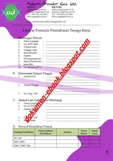 Contoh Formulir Lamaran Kerja 3
