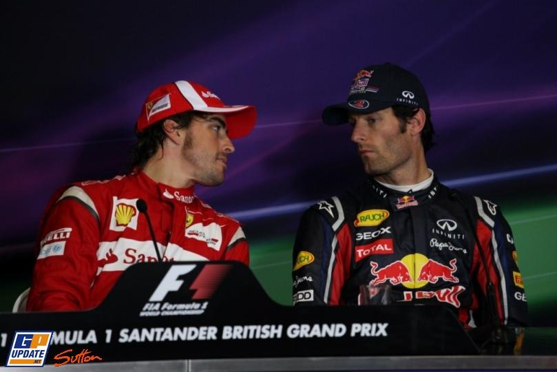 Фернандо Алонсо и Марк Уэббер на пресс-конференции Гран-при Великобритании 2011