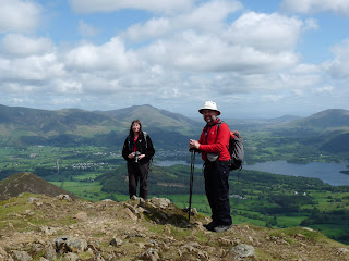 Jill and Nigel on Causey Pike Summit - a great spot to take in the views to Derwentwater.