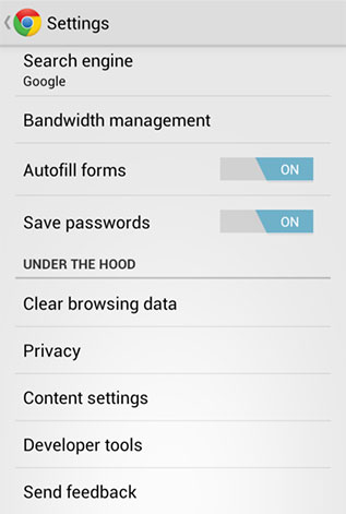 Chrome for Android setting