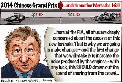 Жан Тодт хочет увеличить громкость двигателей - комикс Bruce Thomson после Гран-при Китая 2014
