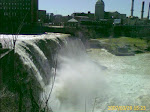 A huge downtown waterfall in Rochester, NY