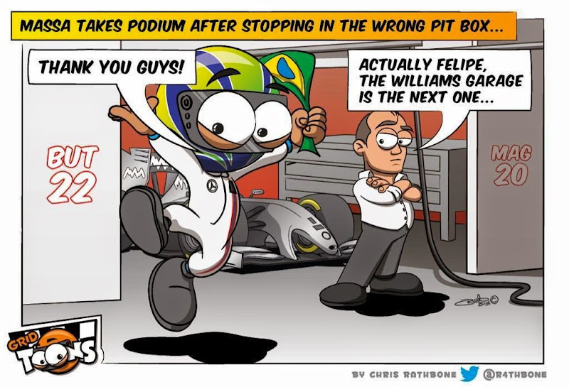 Фелипе Масса берёт подиум после остановки в боксах McLaren - комикс Chris Rathbone по Гран-при США 2014