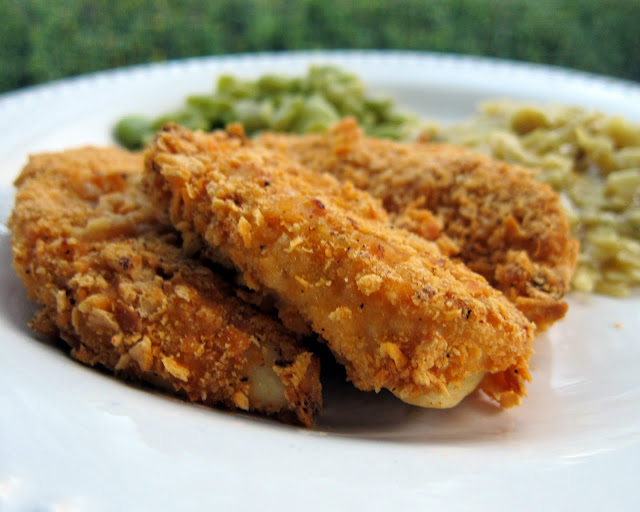 Cheez-It Chicken Fingers - chicken tenders coated in crushed Cheez-Its and baked - SOOOO good! Kids and adults love these! Ready in 15 minutes. Can coat and freeze to bake later.
