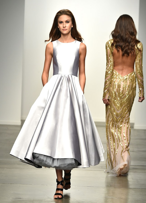 Model on the runway during the Steven Khalil Spring 2015 Collection at the Fashion Palette Evening and Bridal Wear Spring Summer Show, held at Chelsea Pier 59 in New York City, Sunday, September 7, 2014. Photo by Jennifer Graylock-Graylock.com 917-519-7666