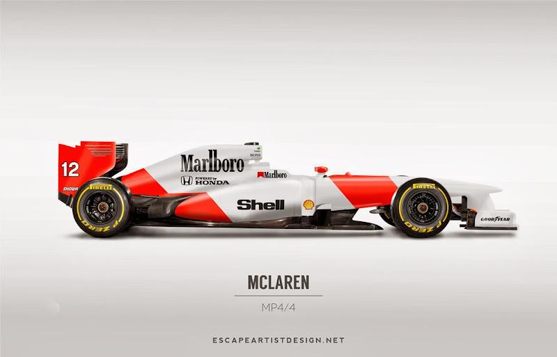 современный болид в раскраске McLaren MP4-4 - Escape Artist Design