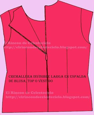 Cremallera invisible en una blusa o top