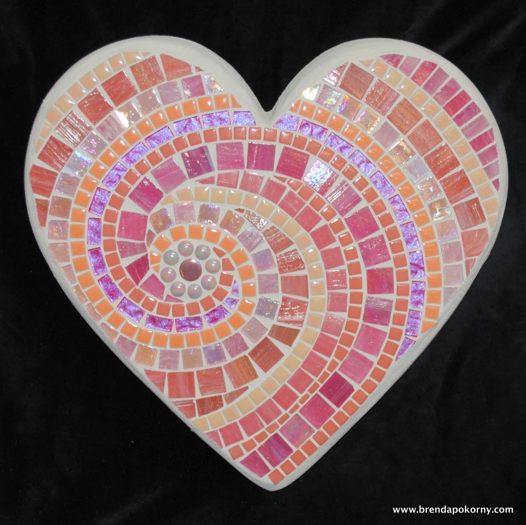 Perfectly Pink Heart Large Mosaic Stepping Stone MOO5040