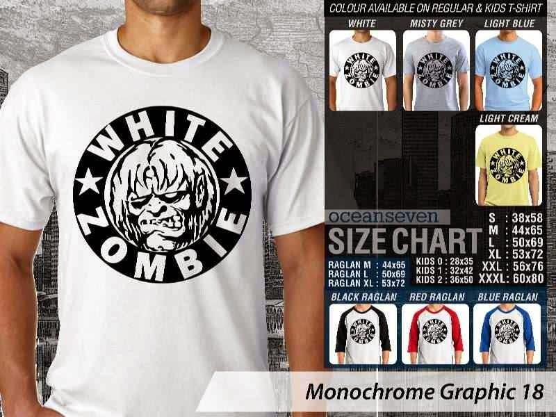 KAOS Musik White Zombie Desain Monochrome Graphic 18 distro ocean seven