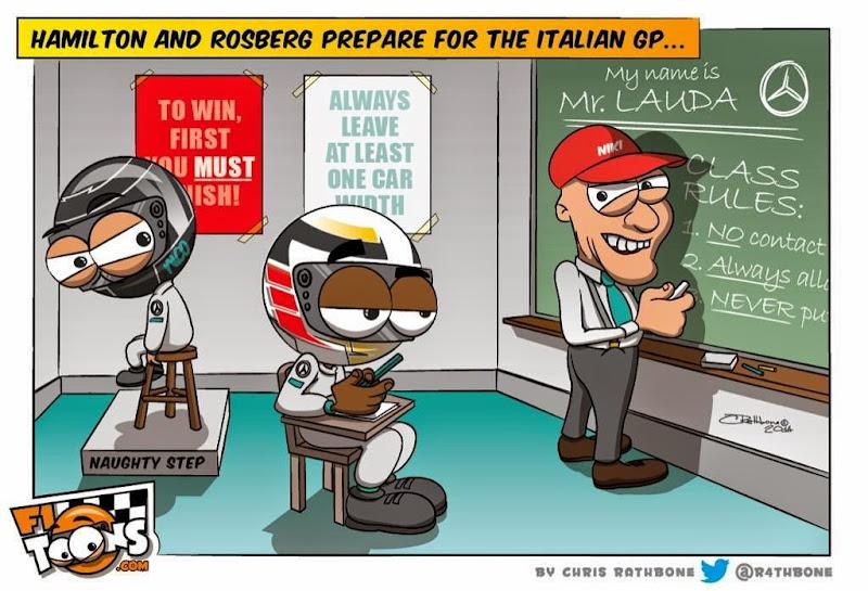 Ники Лауда даёт урок Нико Росбергу и Льюису Хэмилтону - комикс Chris Rathbone перед Гран-при Италии 2014