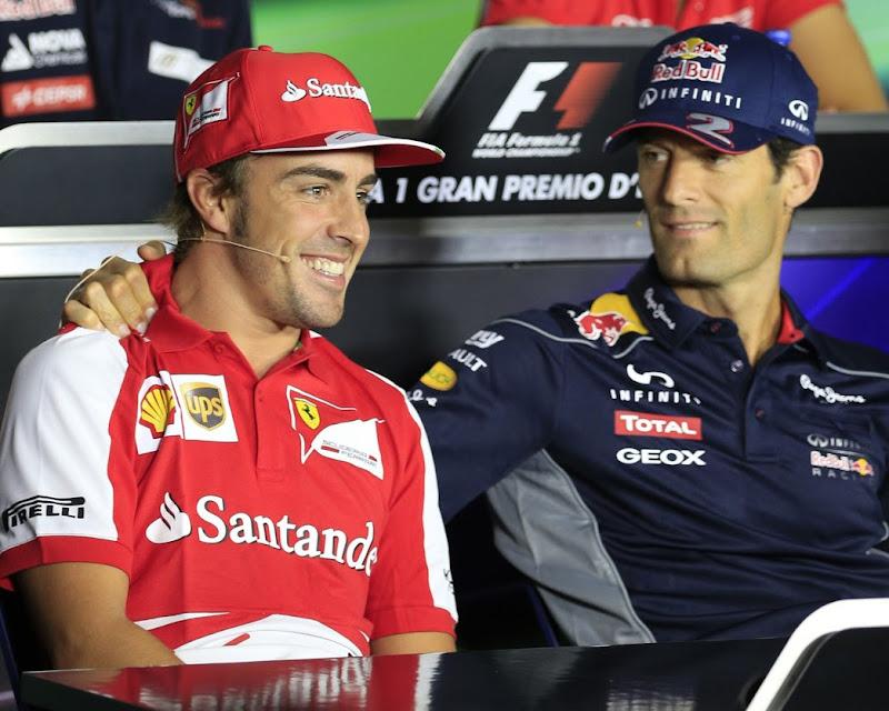 Фернандо Алонсо и Марк Уэббер на пресс-конференции в четверг на Гран-при Италии 2013