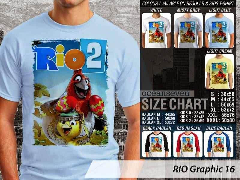 Kaos Film Animasi Lucu Desain RIO Graphic 16 distro ocean seven