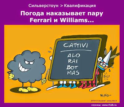 Погода даёт урок паре Ferrari и Williams - комикс Riko по Гран-при Великобритании 2014