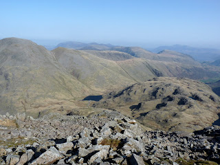 Almost at the top of Great End ... a view to Great Gable Green Gable Base Brown Styhead Tarn and Seathwaite Fell.