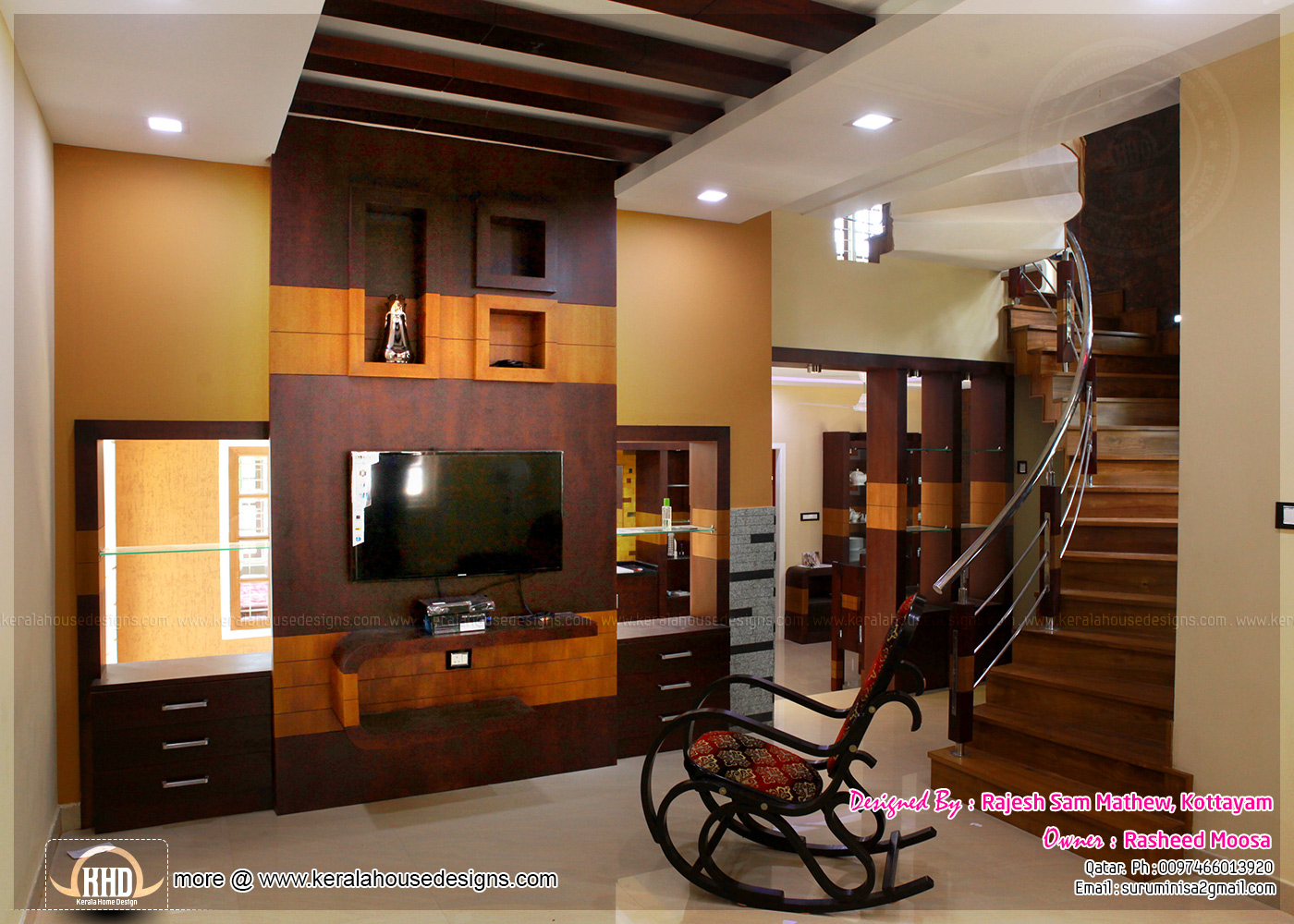 Kerala home design interior bedroom -  Interior Living Room
