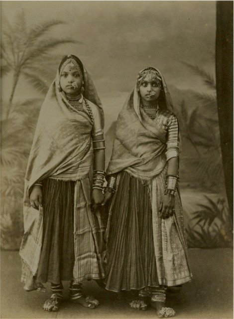 Albumen Photograph of Two Marwaree Girls - Bombay (Mumbai) - 1875