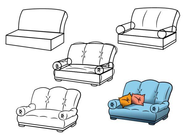 Что нарисовать диван карандашом поэтапно
